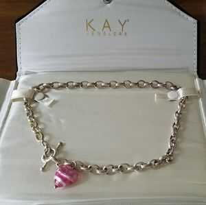 Kay Jewelers Murano Glass Lock and Link Necklace